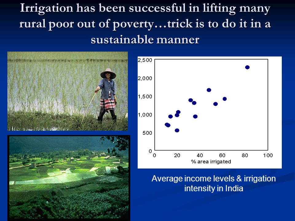 Irrigation has been successful in lifting many rural poor out of poverty…trick is to do it in a sustainable manner Average income levels & irrigation
