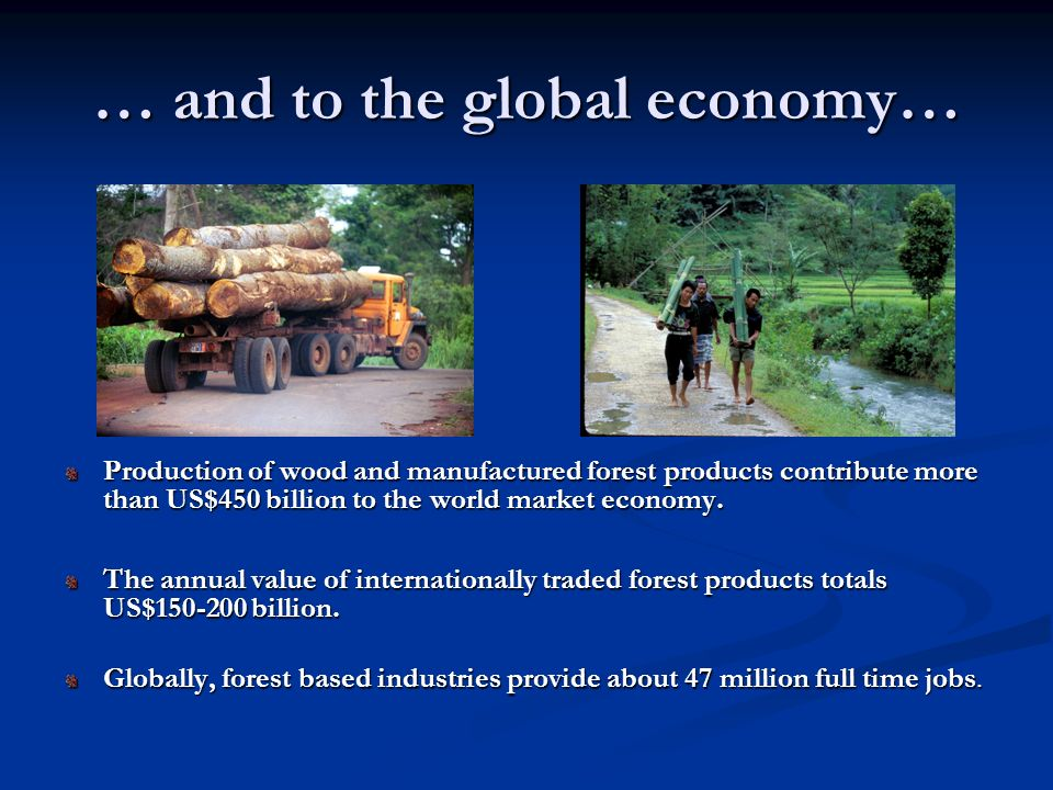 … and to the global economy… Production of wood and manufactured forest products contribute more than US$450 billion to the world market economy. The