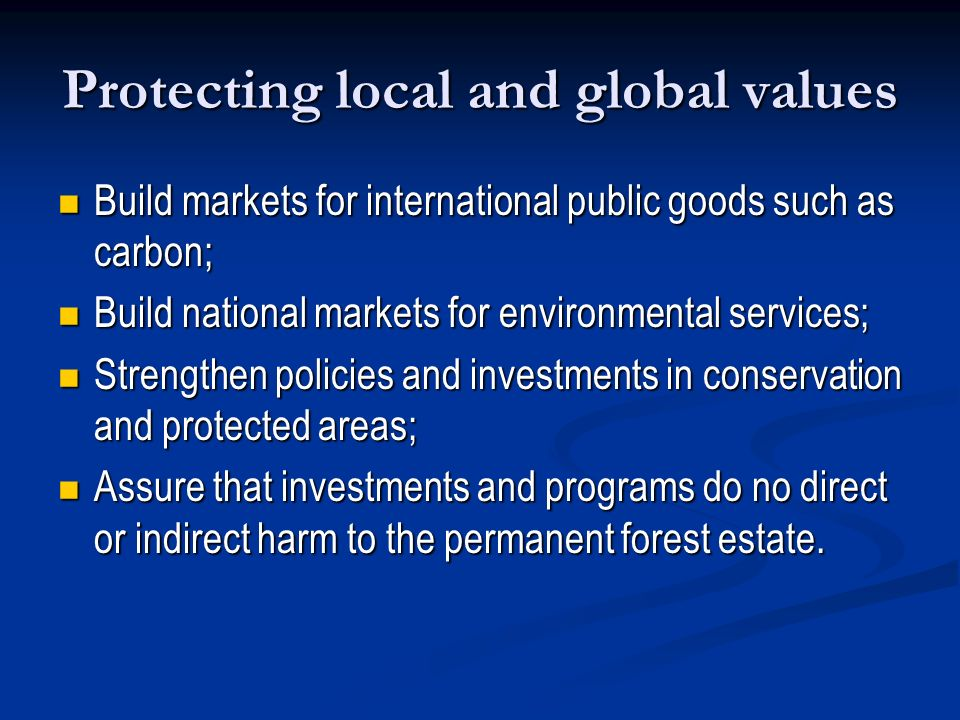 Protecting local and global values Build markets for international public goods such as carbon; Build markets for international public goods such as c