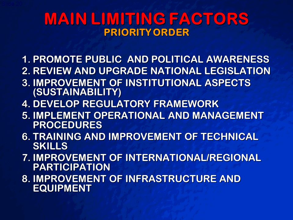 A Free sample background from www.powerpointbackgrounds.com Slide 20 MAIN LIMITING FACTORS PRIORITY ORDER 1.PROMOTE PUBLIC AND POLITICAL AWARENESS 2.R