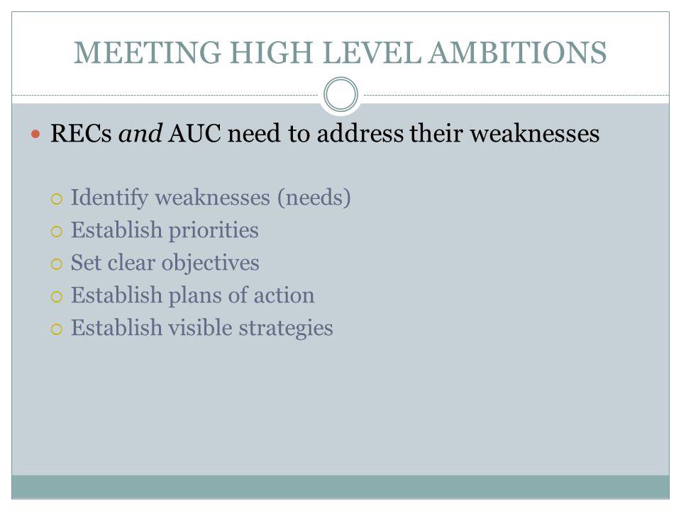 MEETING HIGH LEVEL AMBITIONS RECs and AUC need to address their weaknesses Identify weaknesses (needs) Establish priorities Set clear objectives Establish plans of action Establish visible strategies