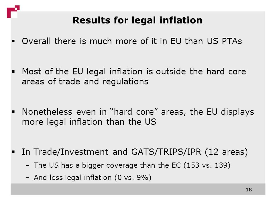 18 Overall there is much more of it in EU than US PTAs Most of the EU legal inflation is outside the hard core areas of trade and regulations Nonetheless even in hard core areas, the EU displays more legal inflation than the US In Trade/Investment and GATS/TRIPS/IPR (12 areas) –The US has a bigger coverage than the EC (153 vs.
