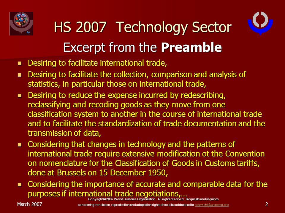 March 2007 Copyright © 2007 World Customs Organization.