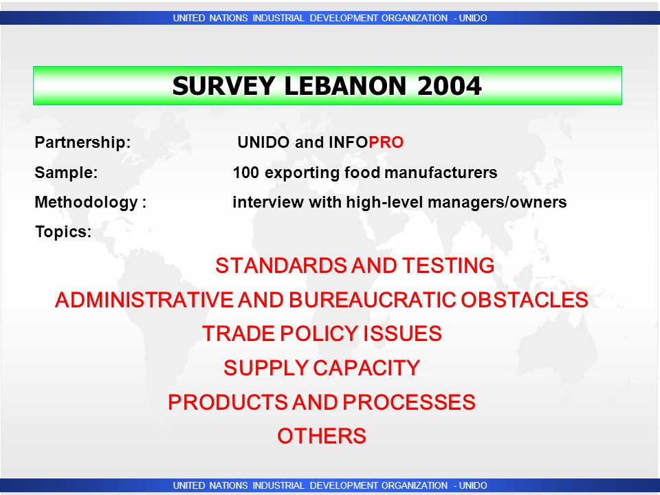 UNITED NATIONS INDUSTRIAL DEVELOPMENT ORGANIZATION - UNIDO Partnership: UNIDO and INFOPRO Sample:100 exporting food manufacturers Methodology : interview with high-level managers/owners Topics: SURVEY LEBANON 2004 STANDARDS AND TESTING ADMINISTRATIVE AND BUREAUCRATIC OBSTACLES TRADE POLICY ISSUES SUPPLY CAPACITY PRODUCTS AND PROCESSES OTHERS