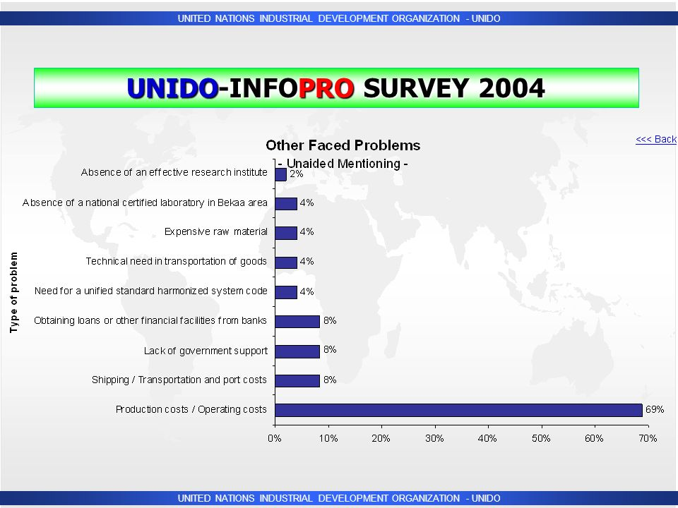 UNITED NATIONS INDUSTRIAL DEVELOPMENT ORGANIZATION - UNIDO UNIDO-INFOPRO SURVEY 2004