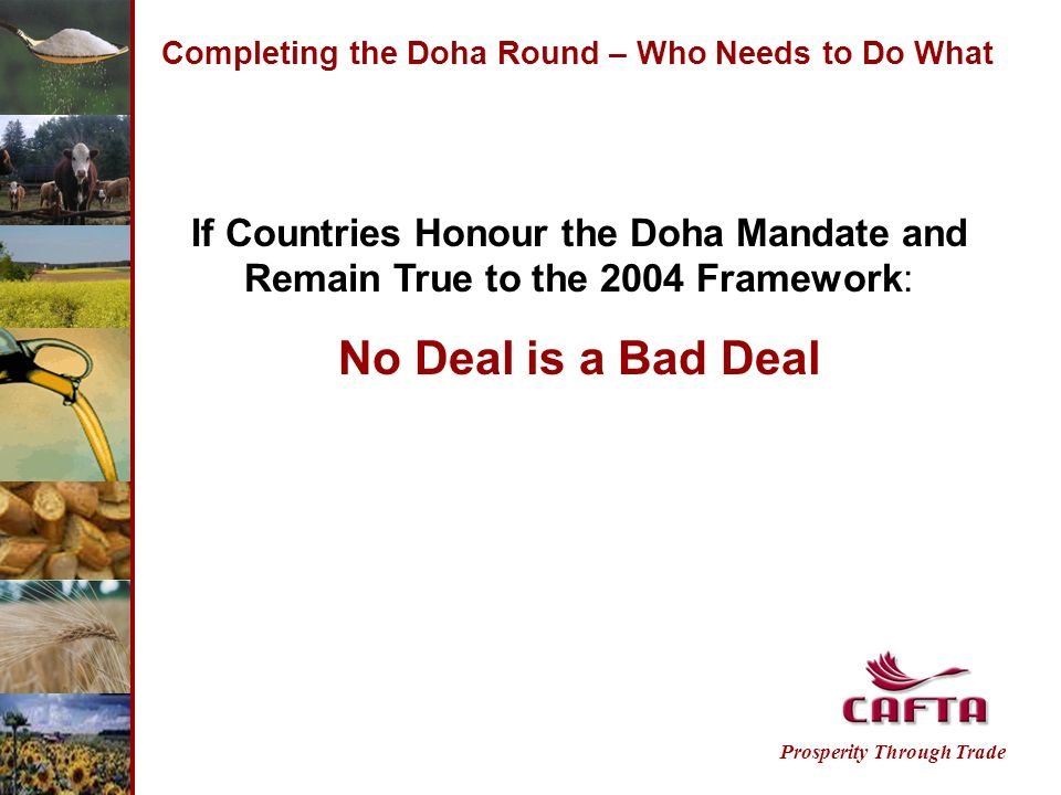 Completing the Doha Round – Who Needs to Do What Prosperity Through Trade If Countries Honour the Doha Mandate and Remain True to the 2004 Framework: No Deal is a Bad Deal