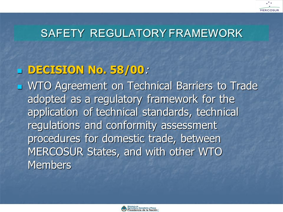 SAFETY REGULATORY FRAMEWORK DECISION No. 58/00: DECISION No. 58/00: WTO Agreement on Technical Barriers to Trade adopted as a regulatory framework for