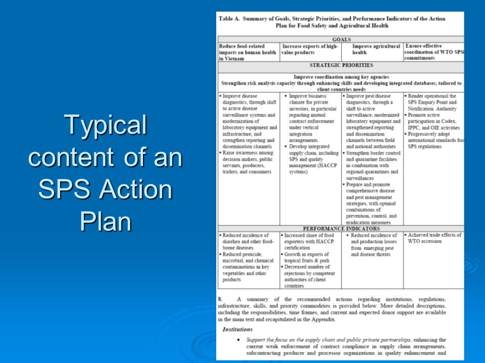 49 Typical content of an SPS Action Plan