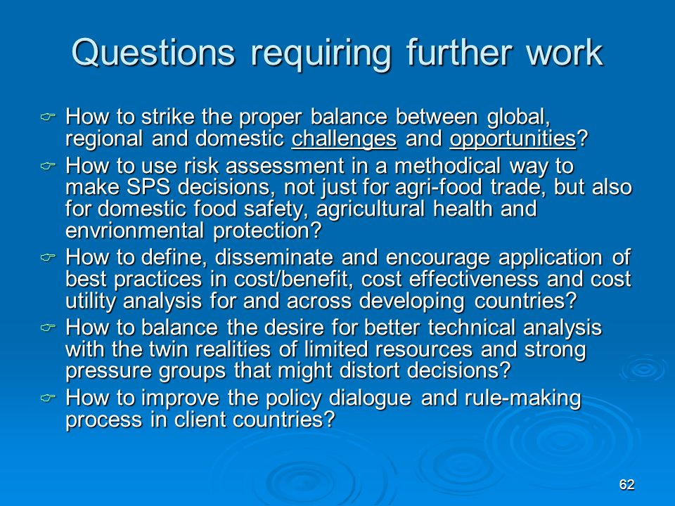 62 Questions requiring further work How to strike the proper balance between global, regional and domestic challenges and opportunities.