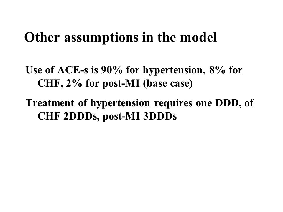 Use of ACE-s is 90% for hypertension, 8% for CHF, 2% for post-MI (base case) Treatment of hypertension requires one DDD, of CHF 2DDDs, post-MI 3DDDs Other assumptions in the model