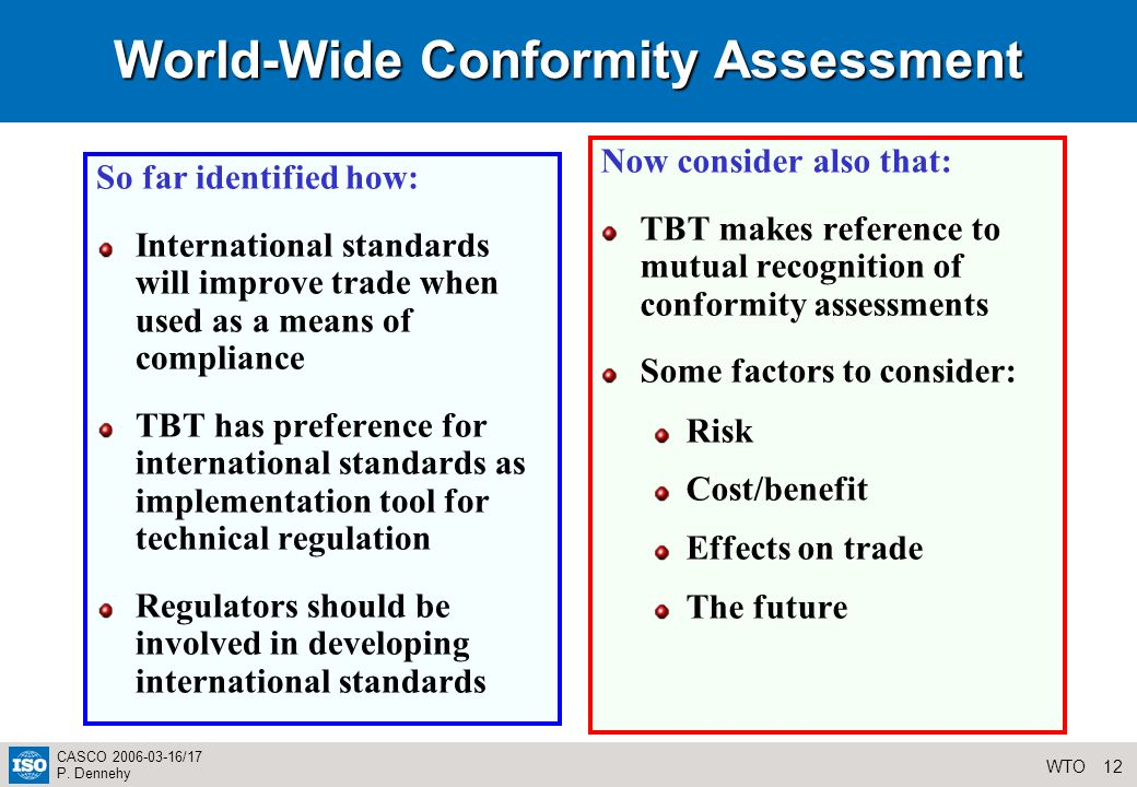 12WTO CASCO 2006-03-16/17 P. Dennehy World-Wide Conformity Assessment So far identified how: International standards will improve trade when used as a