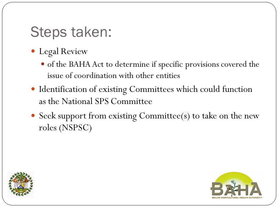 Steps taken: Legal Review of the BAHA Act to determine if specific provisions covered the issue of coordination with other entities Identification of existing Committees which could function as the National SPS Committee Seek support from existing Committee(s) to take on the new roles (NSPSC)