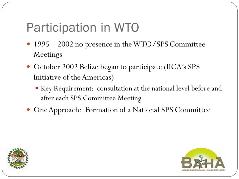 Participation in WTO 1995 – 2002 no presence in the WTO/SPS Committee Meetings October 2002 Belize began to participate (IICAs SPS Initiative of the Americas) Key Requirement: consultation at the national level before and after each SPS Committee Meeting One Approach: Formation of a National SPS Committee