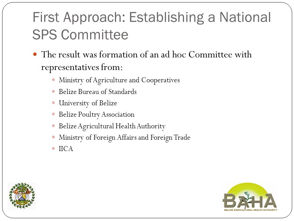 First Approach: Establishing a National SPS Committee The result was formation of an ad hoc Committee with representatives from: Ministry of Agriculture and Cooperatives Belize Bureau of Standards University of Belize Belize Poultry Association Belize Agricultural Health Authority Ministry of Foreign Affairs and Foreign Trade IICA