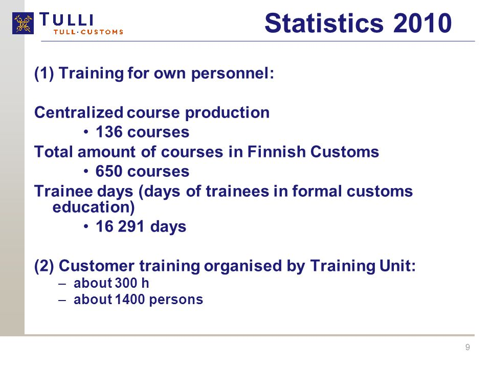 9 Statistics 2010 (1) Training for own personnel: Centralized course production 136 courses Total amount of courses in Finnish Customs 650 courses Trainee days (days of trainees in formal customs education) 16 291 days (2) Customer training organised by Training Unit: –about 300 h –about 1400 persons