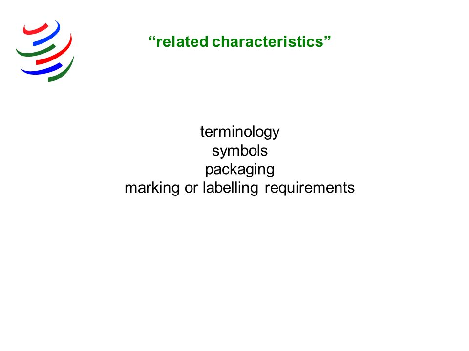 terminology symbols packaging marking or labelling requirements related characteristics