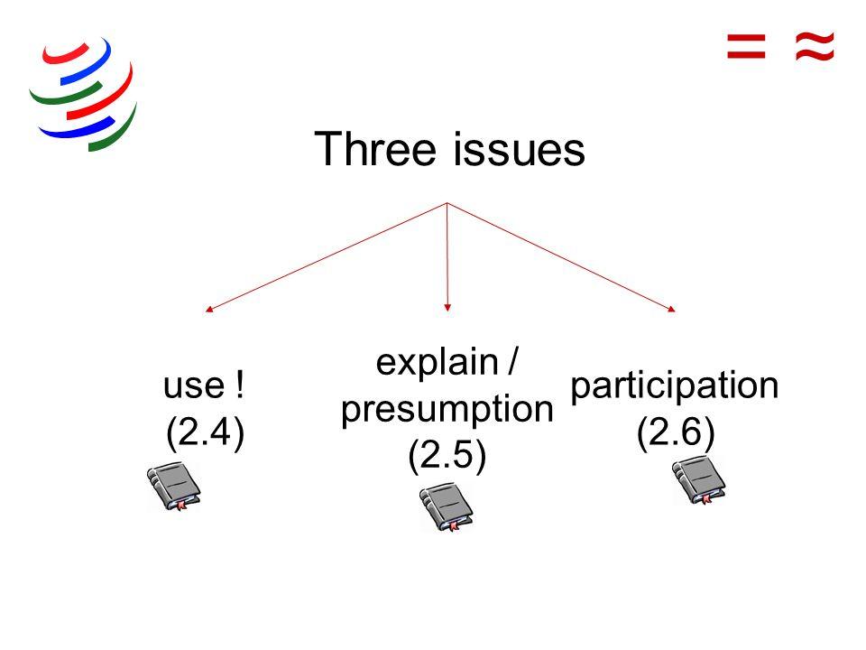 use ! (2.4) explain / presumption (2.5) participation (2.6) = Three issues