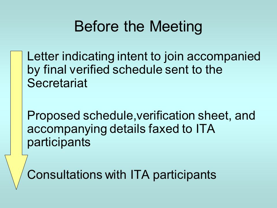 Before the Meeting Letter indicating intent to join accompanied by final verified schedule sent to the Secretariat Proposed schedule,verification sheet, and accompanying details faxed to ITA participants Consultations with ITA participants