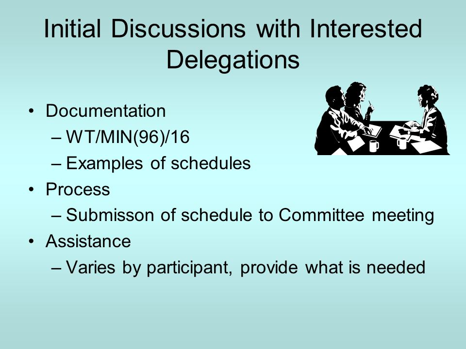 Initial Discussions with Interested Delegations Documentation –WT/MIN(96)/16 –Examples of schedules Process –Submisson of schedule to Committee meeting Assistance –Varies by participant, provide what is needed