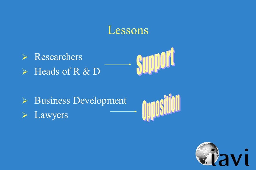 Lessons Researchers Heads of R & D Business Development Lawyers
