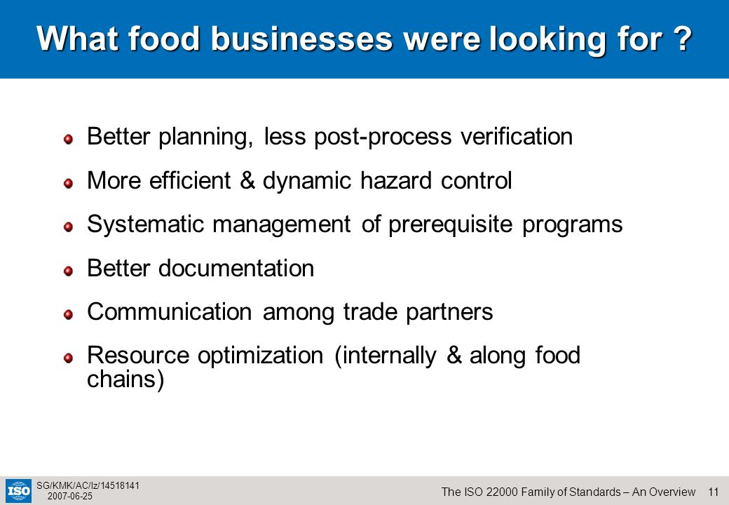 11The ISO 22000 Family of Standards – An Overview SG/KMK/AC/lz/14518141 2007-06-25 What food businesses were looking for ? Better planning, less post-
