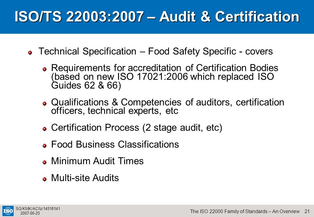 21The ISO 22000 Family of Standards – An Overview SG/KMK/AC/lz/14518141 2007-06-25 ISO/TS 22003:2007 – Audit & Certification Technical Specification –