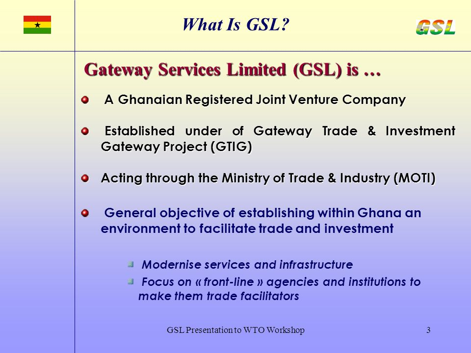 GSL Presentation to WTO Workshop3 What Is GSL.