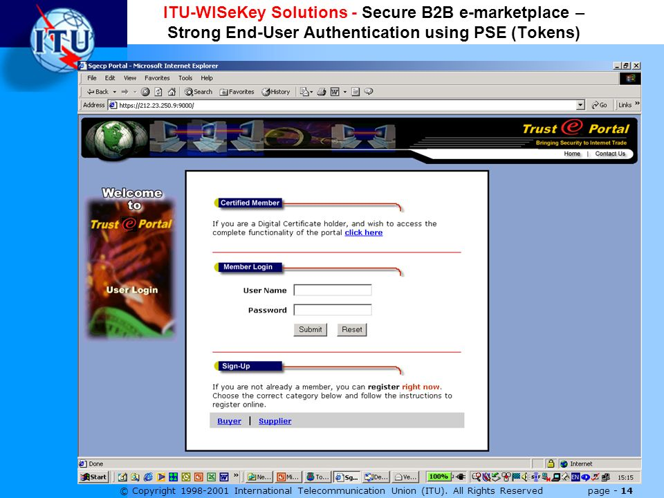 © Copyright 1998-2001 International Telecommunication Union (ITU). All Rights Reserved page - 14 ITU-WISeKey Solutions - Secure B2B e-marketplace – St