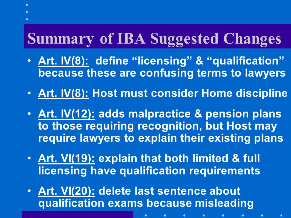 Summary of IBA Suggested Changes Art.