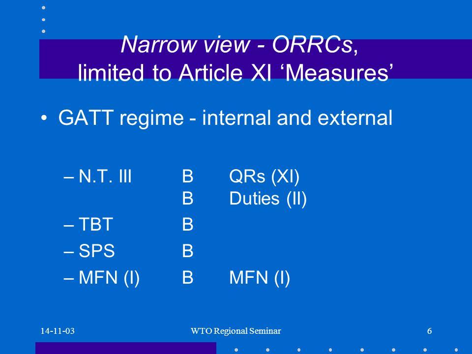 14-11-03WTO Regional Seminar7 ORRCs - narrow view (pro) Places para.