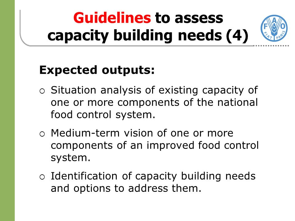 Expected outputs: Situation analysis of existing capacity of one or more components of the national food control system.