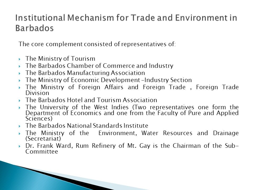 The core complement consisted of representatives of: The Ministry of Tourism The Barbados Chamber of Commerce and Industry The Barbados Manufacturing Association The Ministry of Economic Development -Industry Section The Ministry of Foreign Affairs and Foreign Trade, Foreign Trade Division The Barbados Hotel and Tourism Association The University of the West Indies (Two representatives one form the Department of Economics and one from the Faculty of Pure and Applied Sciences) The Barbados National Standards Institute The Ministry of the Environment, Water Resources and Drainage (Secretariat) Dr.
