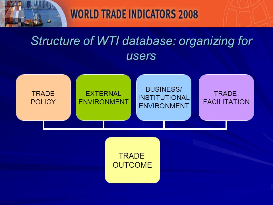 Structure of WTI database: organizing for users TRADE OUTCOME TRADE POLICY EXTERNAL ENVIRONMENT BUSINESS/ INSTITUTIONAL ENVIRONMENT TRADE FACILITATION