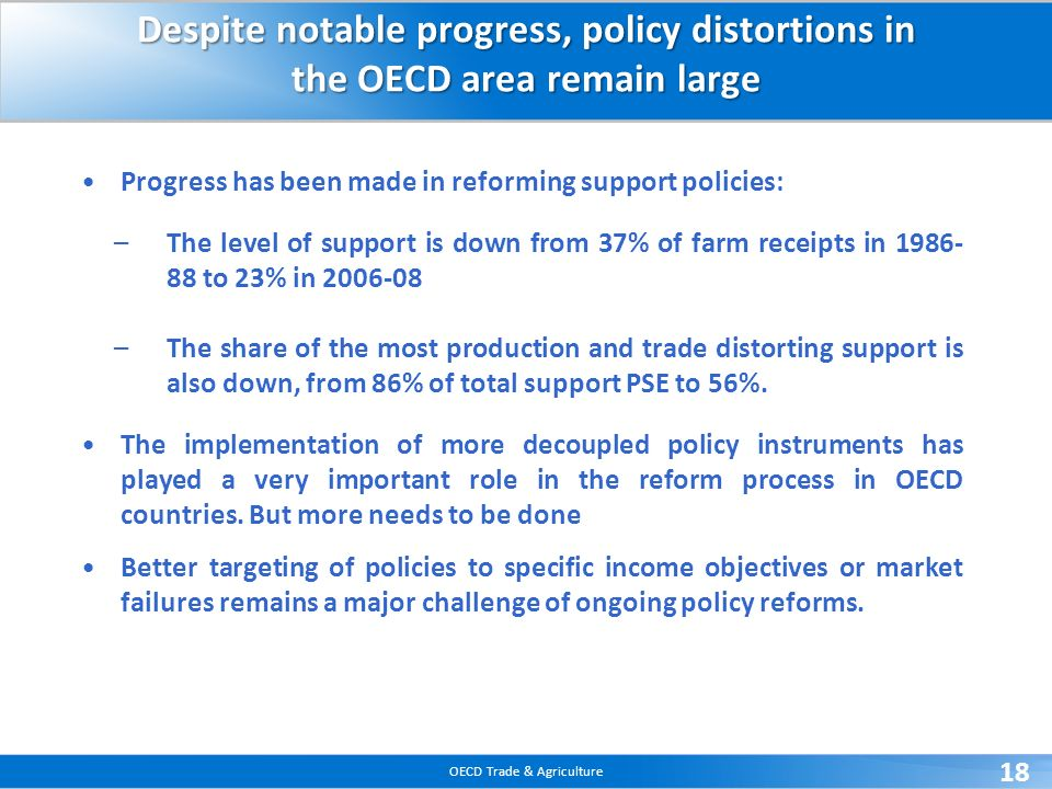 OECD Trade & Agriculture 18 Despite notable progress, policy distortions in the OECD area remain large Progress has been made in reforming support policies: –The level of support is down from 37% of farm receipts in 1986- 88 to 23% in 2006-08 –The share of the most production and trade distorting support is also down, from 86% of total support PSE to 56%.