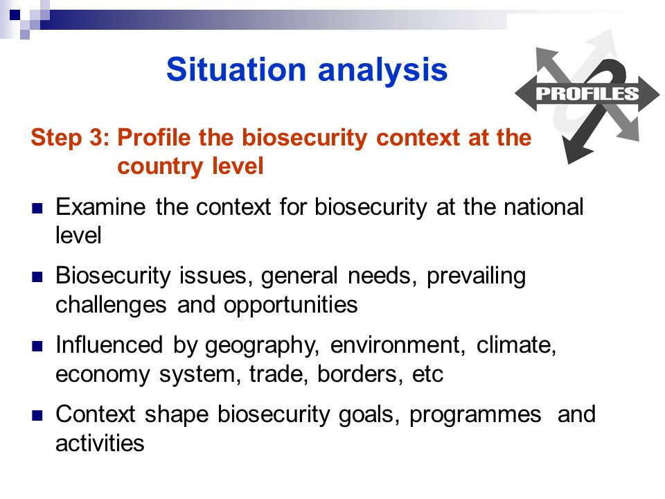 Situation analysis Step 3: Profile the biosecurity context at the country level Examine the context for biosecurity at the national level Biosecurity