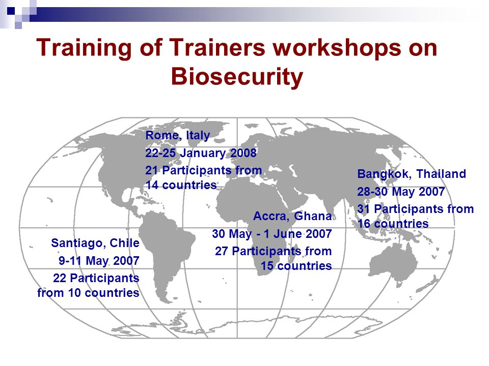 Training of Trainers workshops on Biosecurity Santiago, Chile 9-11 May 2007 22 Participants from 10 countries Accra, Ghana 30 May - 1 June 2007 27 Par