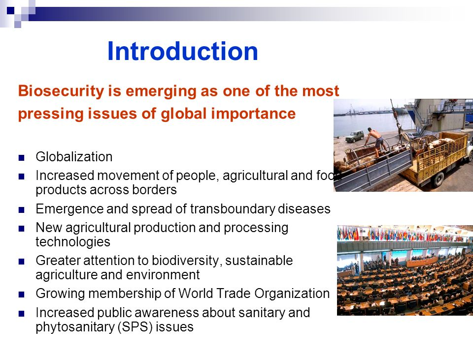 Introduction Biosecurity is emerging as one of the most pressing issues of global importance Globalization Increased movement of people, agricultural