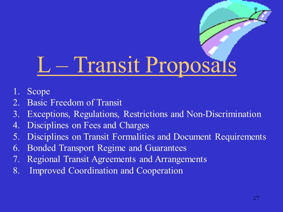 26 ARTICLE V TRANSIT Heading L of Secretariat Compilation TN/TF/W/43/Rev.