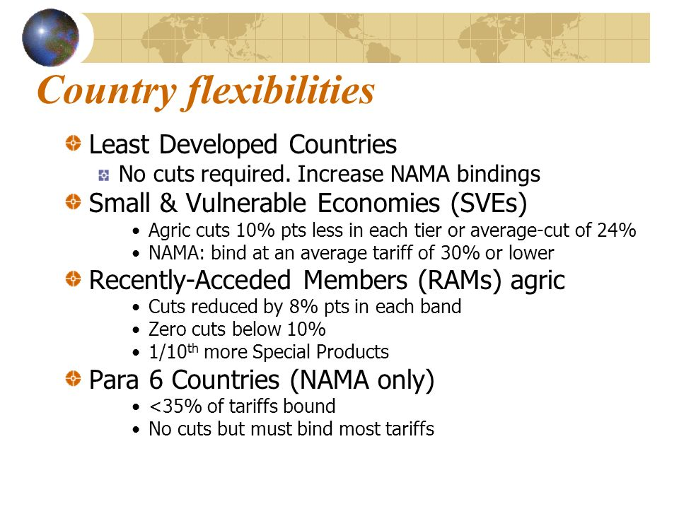 Country flexibilities Least Developed Countries No cuts required. Increase NAMA bindings Small & Vulnerable Economies (SVEs) Agric cuts 10% pts less i