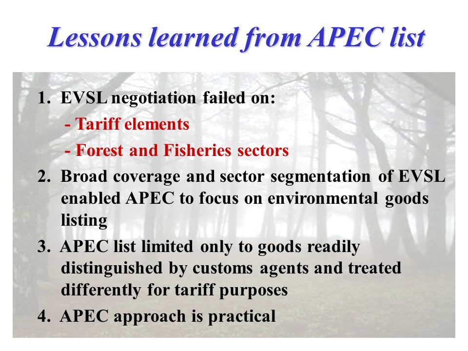 Lessons learned from APEC list 1.