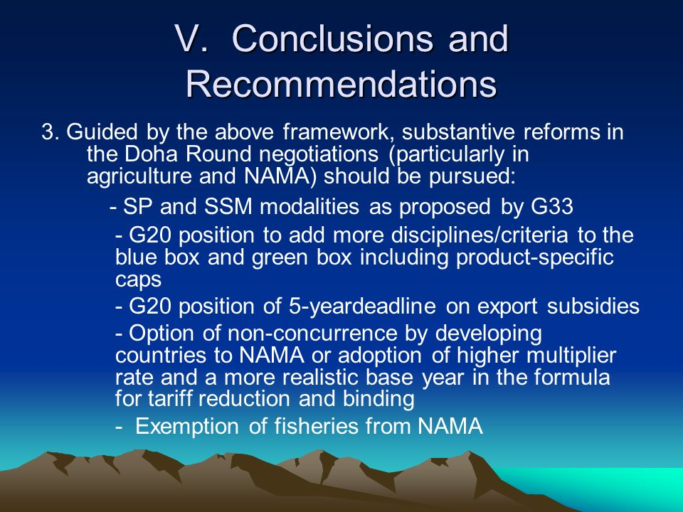 V. Conclusions and Recommendations 3.