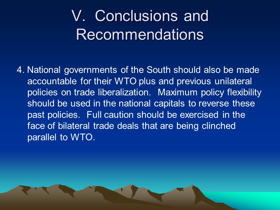 V. Conclusions and Recommendations 4.