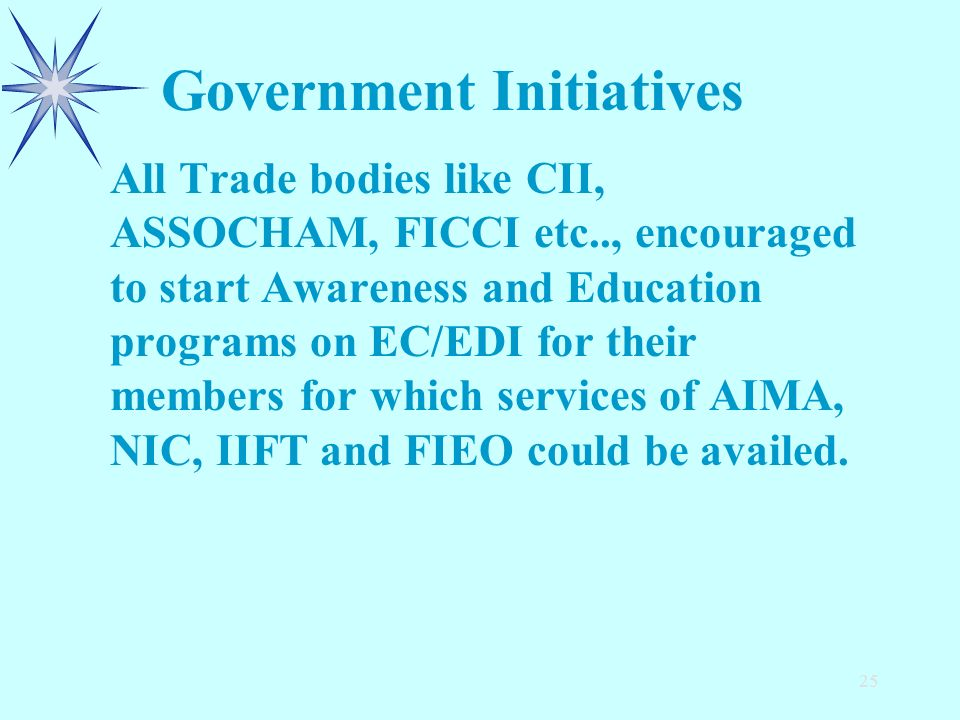 25 All Trade bodies like CII, ASSOCHAM, FICCI etc.., encouraged to start Awareness and Education programs on EC/EDI for their members for which servic