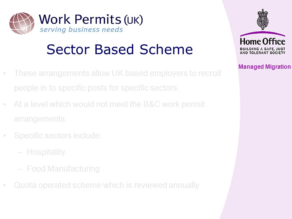 Managed Migration Sector Based Scheme These arrangements allow UK based employers to recruit people in to specific posts for specific sectors.