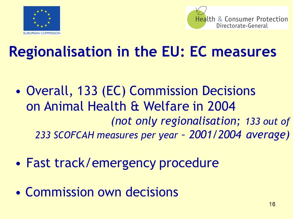 16 Regionalisation in the EU: EC measures Overall, 133 (EC) Commission Decisions on Animal Health & Welfare in 2004 (not only regionalisation; 133 out