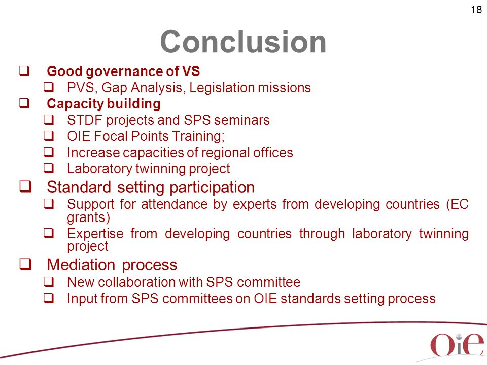 18 Good governance of VS PVS, Gap Analysis, Legislation missions Capacity building STDF projects and SPS seminars OIE Focal Points Training; Increase capacities of regional offices Laboratory twinning project Standard setting participation Support for attendance by experts from developing countries (EC grants) Expertise from developing countries through laboratory twinning project Mediation process New collaboration with SPS committee Input from SPS committees on OIE standards setting process Conclusion
