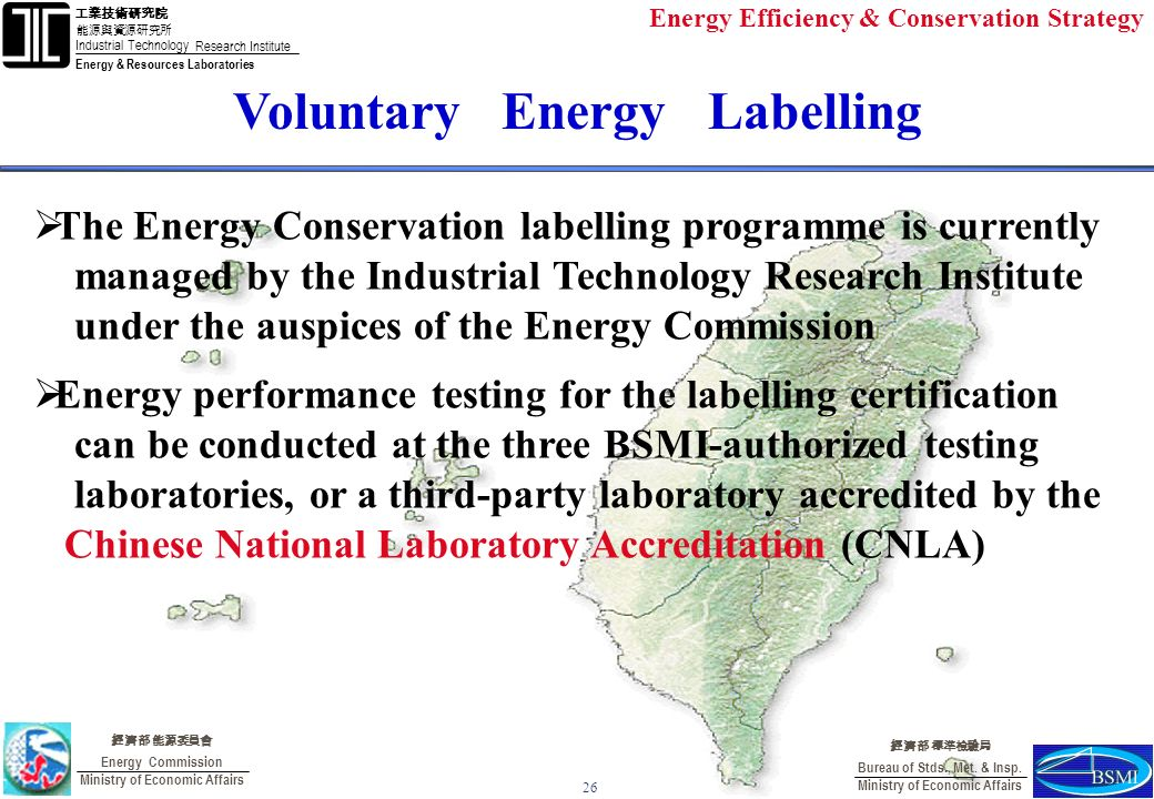 Industrial Technology Research Institute Energy & Resources Laboratories Energy Commission Ministry of Economic Affairs Bureau of Stds., Met.