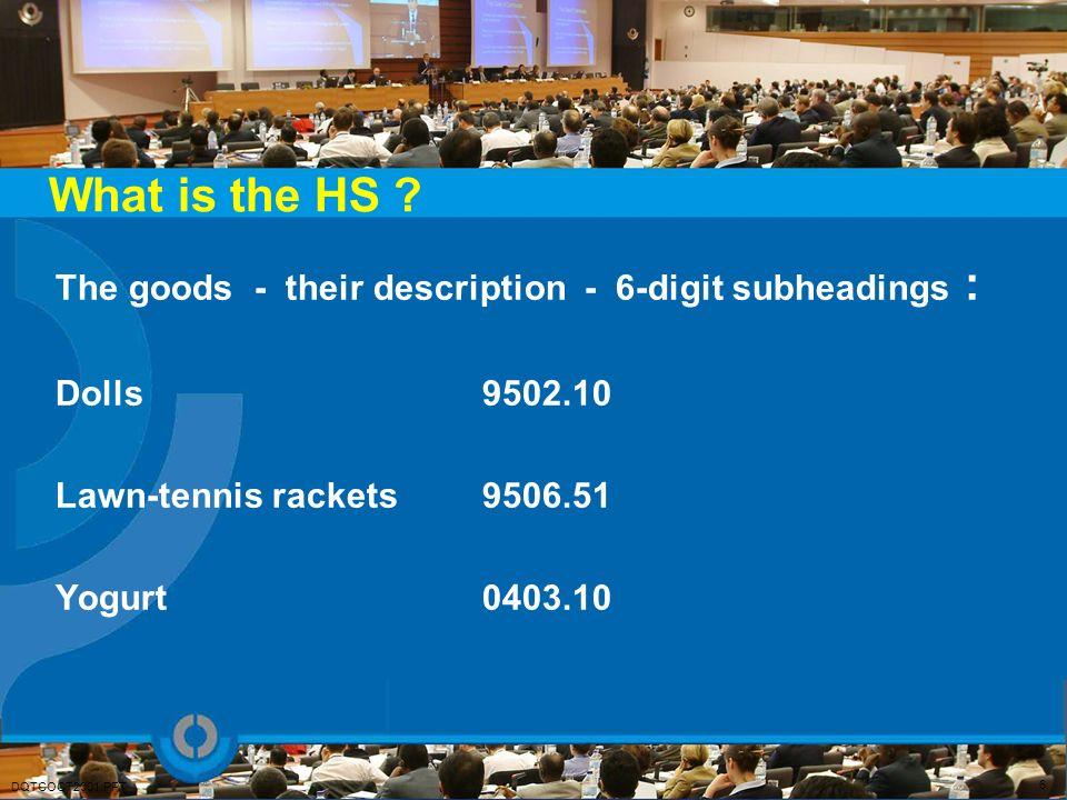 What is the HS ? The goods - their description - 6-digit subheadings : Dolls 9502.10 Lawn-tennis rackets 9506.51 Yogurt 0403.10 6 DQTCOCT2001.PPT