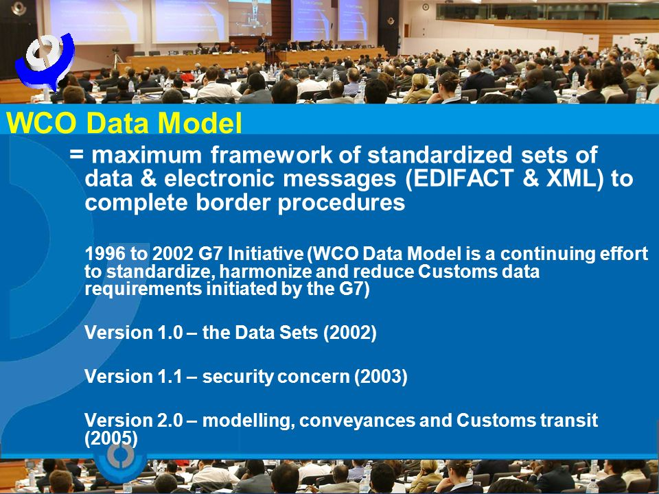 = m aximum framework of standardized sets of data & electronic messages (EDIFACT & XML) to complete border procedures 1996 to 2002 G7 Initiative (WCO