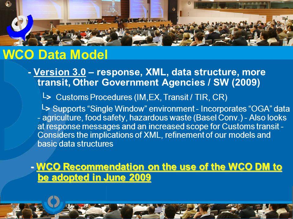 - Version 3.0 – response, XML, data structure, more transit, Other Government Agencies / SW (2009) > Customs Procedures (IM,EX, Transit / TIR, CR) > S